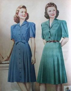 Sears Shirtwaist and Button Down Dresses 1942 1943 fashion dresses 15 Classic Vintage Dress Styles 1940s Fashion Women, 1940s Fashion Dresses, 1940s Dresses, 80s Fashion, Fashion History, Day Dresses, Vintage Fashion, Club Fashion, Flapper Dresses