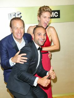 Bob Odenkirk, Michael Mando and Rhea Seehorn at AMC Networks' Primetime Emmy Awards After-Party Celebration Breaking Bad, Better Call Saul, Rhea Seehorn, Amc Networks, Saul Goodman, Vince Gilligan, Orphan Black, Best Actor, Famous Faces