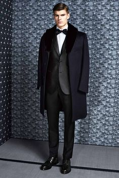 Vicuna coat with collar mink Midnight smoke and black silk evening jacket Black wool smoking trousers White cotton shirt Black silk bow tie Black calf derby shoes