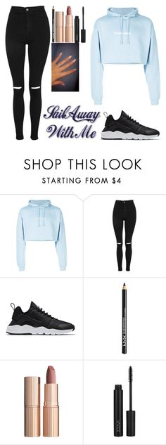 """"""":)"""" by crazibunniz on Polyvore featuring F.A.M.T., Topshop, NIKE, NYX and Charlotte Tilbury"""