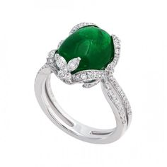 4.07ct Emerald Ring accented with diamonds by Jye