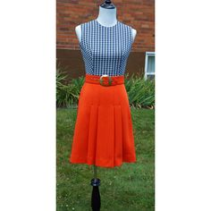 Vintage Mod Peck & Peck Fifth Avenue Dress, Gingham Checks, Pleated Skirt, Midcentury, 60s, Belted, Preppy, Summer, Blue, Orange by Have2Shop on Etsy