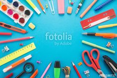 "Download the royalty-free photo "" School office supplies on blue background "" created by slava at the lowest price on Fotolia.com. Browse our cheap image bank online to find the perfect stock photo for your marketing projects!"