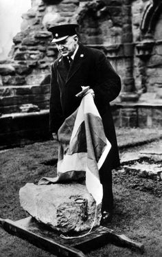 Old photograph of the Stone Of Destiny at Arbroath Abbey, Scotland