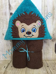 "Hedgehog Boy Applique Hooded Bath, Beach Towel 30"" x 54"" by MommysCraftCreations on Etsy"