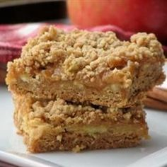 """Caramel Apple Bars III """"Oh my Apple Pie! =) These are incredibly addicting, incredibly delicious, and incredibly rich."""""""
