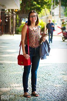 flowers + red bag + glasses