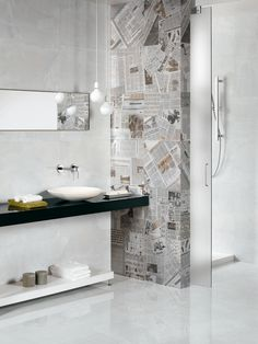 I love the shower wall. So much nicer than glass and it lets you build right up to it. Beaumont Tiles again. Room idea