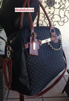 NWT Steve Madden x-lrg Rare Overnight Travel Weekender Black Quilted neptune bag #SteveMadden #WeekenderOvernight