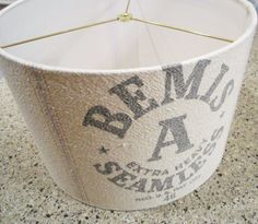 Vintage flour sack lamp shade 15x10 drum shade by lightreading, $85.00