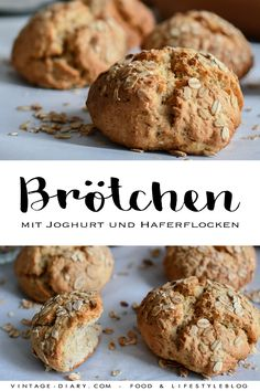 Bread rolls with yoghurt and oatmeal- Brötchen mit Joghurt & Haferflocken Buns with yogurt and oatmeal, quick breakfast recipe. Baking for beginners. Baking For Beginners, Vegetarian Recipes, Healthy Recipes, Vestidos Vintage, Bread Rolls, Breakfast Recipes, Brunch Recipes, Oatmeal, Healthy Snacks