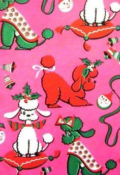 Vintage Poodle Christmas Gift Wrap