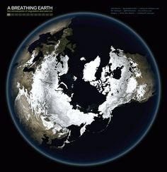 El latido del corazón climático de la Tierra en dos imágenes animadas Combinando doce imágenes de la NASA, correspondientes a cada uno de los meses del año, John Nelson ha creado estas dos fotografías animadas.  El resultado es fascinante. De un vistazo podemos apreciar el pulso entre la vegetación y el hielo que se produce en todo el planeta a través de las diferentes estaciones del año.
