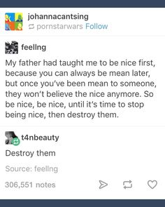 Be nice first...