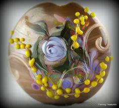 Flaming Treasure's Vintage Rose~ Focal~Handmade~Lampwork Bead~SRA~USA #Handmadeglassbeads #Lampwork