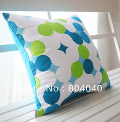 "Free P Wholesale Cotton Canvas Throw Pillow Case Decor Cushion Cover Square 18"" / 45cm White Blue Green Dots PE30 on AliExpress.com. $9.99"