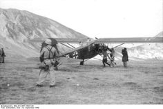 The Fieseler FI 156 Storch at Gran Sasso mountain Italy used to fly Mussolini and Otto Skorzeny out, September 12, 1943.