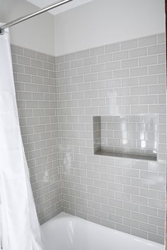 Shower niche using subway tiles Hall Bathroom, Upstairs Bathrooms, Bathroom Interior, Bathroom Showers, White Bathrooms, Bathroom Tubs, Bathroom Grey, Grey Tile Shower, Master Bathrooms