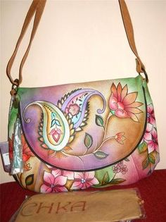 Anuschka Hand Painted Leather Jaipur Paisley Flap Over Convertible Shoulder Bag | eBay