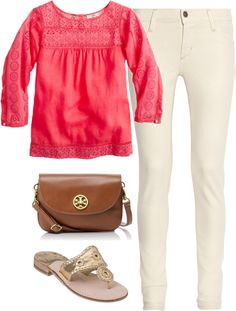 """""""Coral & Cream"""" by classically-preppy ❤ liked on Polyvore"""
