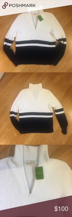 Kate Spade Sweater NWT Pull over, half zip navy and white striped sweater. NWT!! kate spade Sweaters