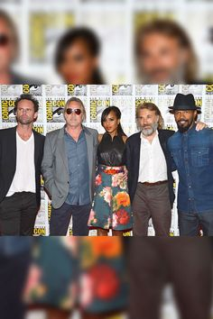 'Django Unchained' Cast    Walton Goggins, Don Johnson, a scruffy Christoph Waltz and Jamie Foxx flanked the beautiful Kerry Washington (in J. Mendel) to promote Quentin Tarantino's latest -- Django Unchained.