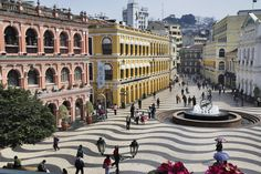 Places I've been: I love the beautiful black and white tiles and building colors - Largo do Senado (Senado Square) Macau
