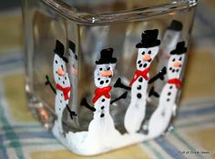Kids 5 finger snowman candle holder. This would make great gifts from my kiddos to the grandparents.