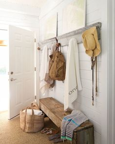 Entryway Ideas - Wood Bench In Entry - White Planked Walls - via The Inspired Room
