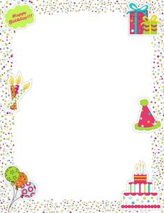 printable page border featuring birthday graphics like candles cake presents and confetti