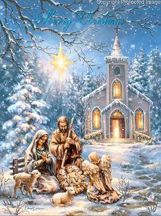 Merry Christmas Gif, Christmas Scenery, Christmas Nativity Scene, Christmas Music, Vintage Christmas Cards, Christmas Pictures, Christmas Greetings, Winter Christmas, Jesus Born Christmas