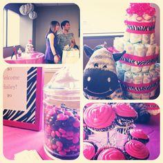 Zebra theme baby shower, pink and black