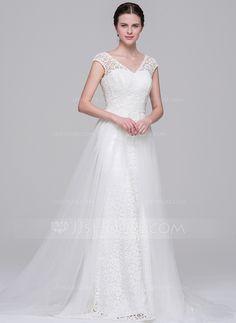 A-Line/Princess V-neck Court Train Detachable Tulle Lace Wedding Dress (002071601)