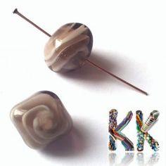 Vinutá perla - kvádřík - šedý - 15 x 15 x 12 mm