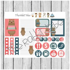 Weekly sticker set - funky bear - planner stickers by TheRabbitTribe on Etsy