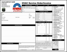 hvac service order and invoice 4800