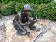 Statua, Cowboy, Lettura, Biblioteca