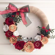 Excited to share the latest addition to my #etsy shop: Christmas Felt Wreath with Burlap