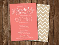 Coral & Chevron Bridal Shower Invitation from Featherfly Design