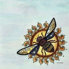 Sun and Bee Tattoo Design - A four-winged bee in front of a burning sun. There are unique drawings on both the sun and the bee. Honey Bee Tattoo, Mason Bees, I Love Bees, Unique Drawings, Bee Art, Arte Popular, Save The Bees, Bee Happy, Bees Knees