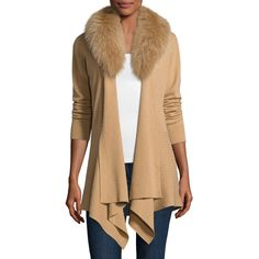 Neiman Marcus Cashmere Cardigan w/ Removable Fur Collar ($227) ❤ liked on Polyvore featuring tops, cardigans, camel, open front cardigan, asymmetrical hem top, beige top, long sleeve cardigan and cardigan top