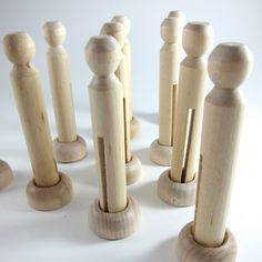 Unfinished Clothespin Dolls with Stands