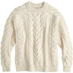 J.Crew Demylee Handknit Sweater ($770) ❤ liked on Polyvore featuring tops, sweaters, shirts, jumpers, cable sweater, loose sweaters, cable knit sweater, white shirt and white jumper