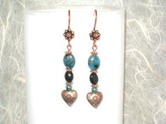 Copper Hearts Obsidian and Teal Crazy Lace Agate by DesertDabbler, $12.00