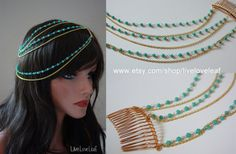 Layered Turquoise bead and gold chain hair piece by LiveLoveLeaf, $35.00