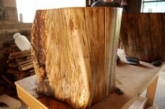 I found some tree stumps being given away and thought this could be a fun project to create chic side tables in Jaden's office.