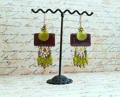 *Vertigo* Emaux- boucles d'oreilles style ethnique chic - émaux sur cuivre et verre tchèque : Boucles d'oreille par echappee-perles