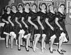 """Haresfoot production """"Call Me Madam""""    The Haresfoot """"ponies"""" form a chorus line in their production of """"Call Me Madam."""" 1957."""