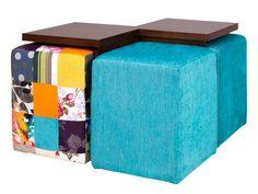Mesa de Centro com 4 Puffs Duo - Castanho e Patchwork