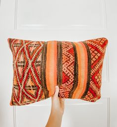 One-of-a-kind Moroccan kilim pillow made from vintage rugs. This is the perfect addition to your simple and classic bedroom or living room. A touch of color that will help you renovate your house without spending a lot. Lucky Collective Textile #LuckyCollective #Kilim #ThrowPillow Orange Throw Pillows, Kilim Pillows, Pillow Room, Silk Pillow, Handmade Decorations, Pillow Inserts, Moroccan, Vintage Rugs, Hand Weaving